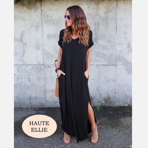 Haute Ellie Dresses & Skirts - 🆕 Traveler Slit Side Pocket Maxi Dress-Black