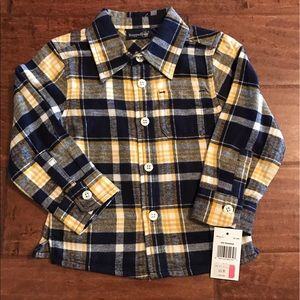Rugged Bear Navy& Yellow flannel plaid Button down