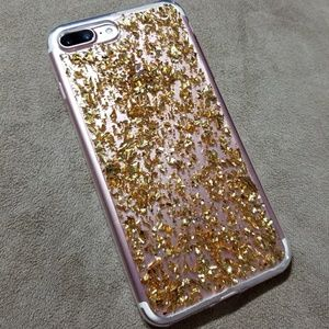 Accessories - iPhone 7 & 7 Plus  case with gold flakes