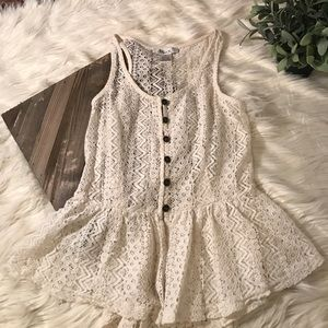 Pinky Tops - Pinky lace button down tank top