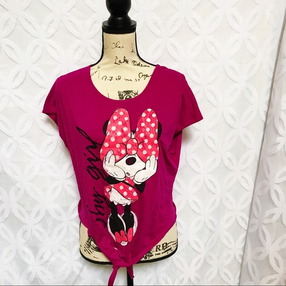 ae8944fb95db Disney Tops | Minnie Mouse Shy Girl Keyhole Knot Tee | Poshmark