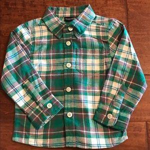 Rugged Bear Green &Grey flannel plaid shirt Sz. 2T