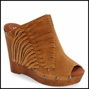 Sbicca Shoes - SBICCA LEATHER SUEDE MULE Bootie Fringe