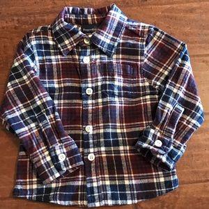 Rugged Bear Navy&Maroon flannel plaid button down