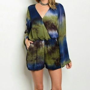 Other - Beautiful Romper with bell sleeves. Bold colors!