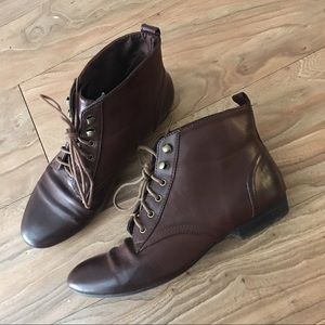 H&M Lace-up Leather Ankle Boots