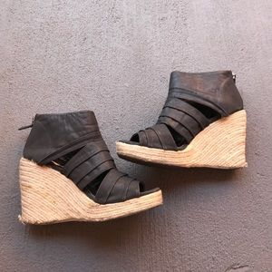 coconuts Shoes - Black straw wedges