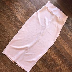 Dresses & Skirts - Peachy pink midi high waisted skirt
