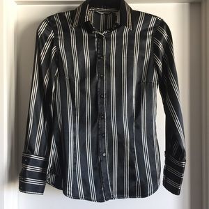 Zara satin like vertical striped button up blouse