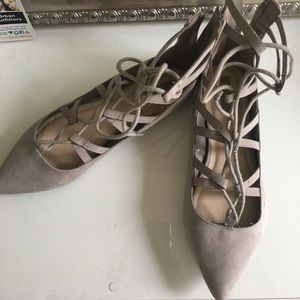 Shoes - Lace up flats (nude)