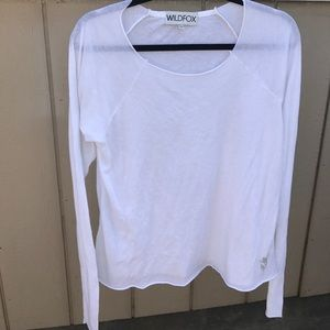 WILDFOX SZ S WHITE COTTOM TOP SHIRT