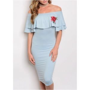 Dresses & Skirts - Blue Floral Embroidery Off Shoulder Ruffle Dress