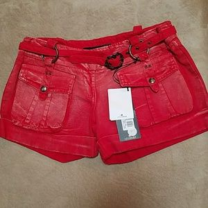 Just Cavalli Pants - Just Cavalli red cuffed shorts size 26 NWT
