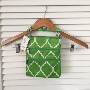 All For Color Handbags - Lime Green Quatrefoil Crossbody