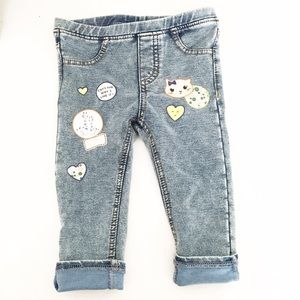 Zara Other - H&M Baby Girls Embellished Kitty Cat Jeggings