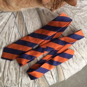 Hi-Brow Skinny Bold Diagonal Orange Stripe Tie