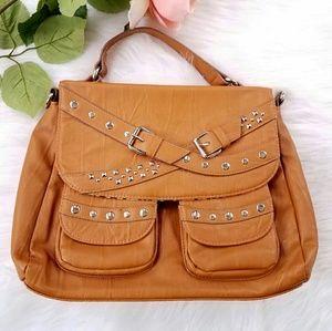 Kate Landry Handbags - Kate Landry tan studded satchel bag briefcase