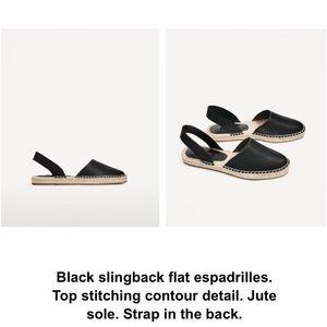 Zara black sling back espadrilles size US 8