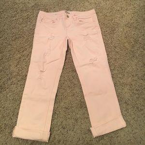 Light pink distressed capris
