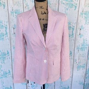 Isaac Mizrahi red and white striped blazer size S