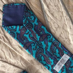 Vintage Accessories - Vibrant Bright Teal Bold Paisley Print Art Tie
