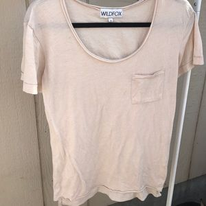 WILDFOX SZ S BEIGE CUTE TOP COTTON SHIRT