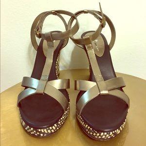 Shoes - DaniBlack Wedge Sandal Gunmetal straps Wicker Heel