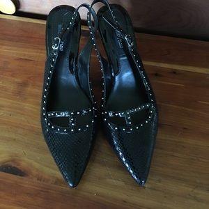 WHBM black sling back heels.