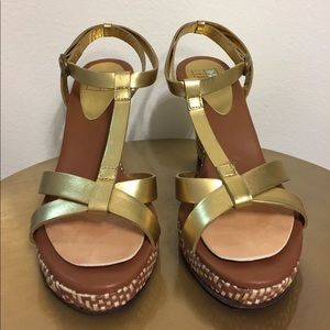 Shoes - DaniBlack Gold Strap Wedge with Wicker Heels