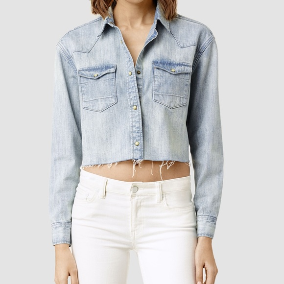 47cec2887b All Saints Tops - Allsaints Cannon Cropped Denim Shirt 4