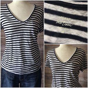 J CREW v-neck striped tee! 100% linen