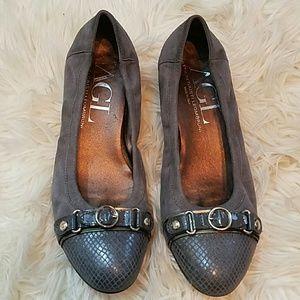Attilio Giusti Leombruni Shoes - AGL ITALIAN Grey Suede Flat Wedge Snake Buckle