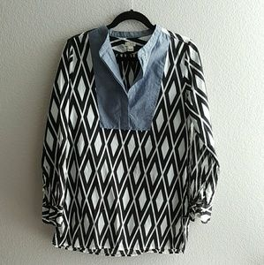 J. Crew Factory Tops - J. Crew Printed Tunic with Solid Bib