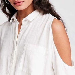Cold Shoulder Button-Down Long Shirt