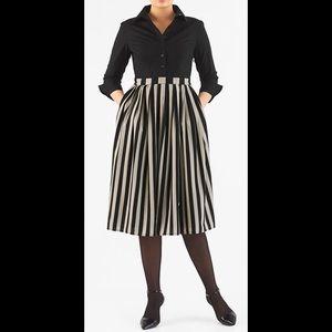 eshakti Dresses & Skirts - New Eshakti Striped Fit & Flare Shirt Dress XL 16