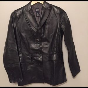 Gap womens brown leather jacket
