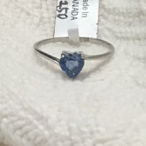 Jewelry - Solid 18k white gold heart cut sapphire ring