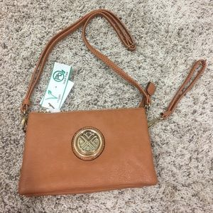 Cognac Faux Leather Crossbody bag