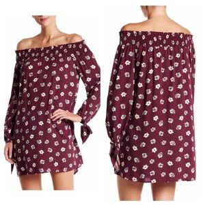 Blu Pepper Dresses & Skirts - Wine Floral Strapless Dress