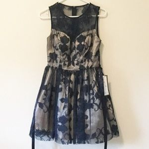 B. Darlin Dresses & Skirts - Navy/Gold Fit and Flare Dress