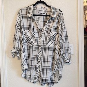 The Laundry Room Tops - The Laundry Room black/ white plaid shirt
