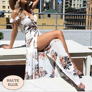 Haute Ellie Dresses & Skirts - 🆕Delilah Floral Off Drop Shoulder Wrap Maxi Dress