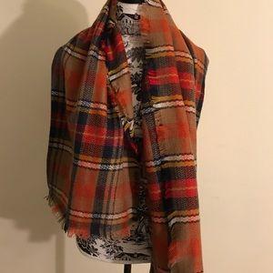 NEW Plaid oversized blanket scarf, wrap shawl