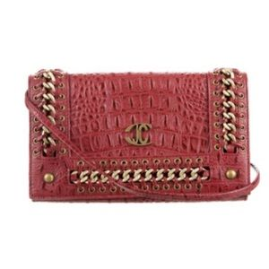 Just Cavalli Handbags - Just Cavalli red leather cross body bag/clutch