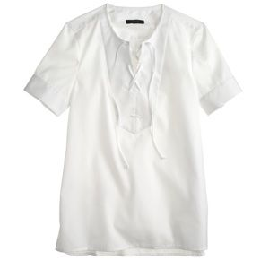 J Crew Lace Up Sateen Shirt White PERFECT 2 Blouse