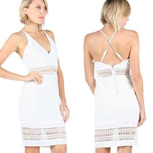 fairlygirly Dresses & Skirts - White Crochet Stripe Detail Cross Back Cami Dress