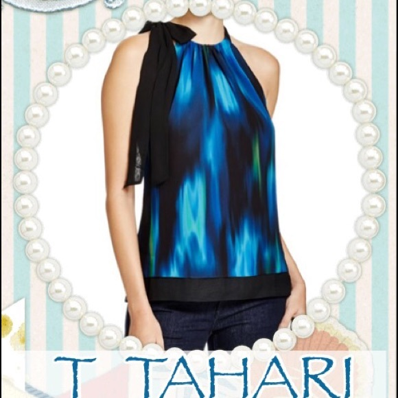 9ebe92793ee T Tahari Tops   Dawn Abstract Print Halter Neck Top   Poshmark