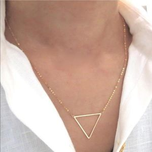14k gold triangle necklace.made in Italy