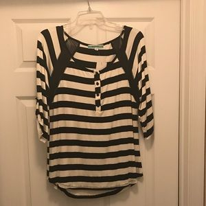 Pleione Tops - Black and white striped shirt with sheer accents