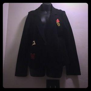 Freshman Jackets & Blazers - Women black patched sweater blazer